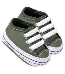 tênis courino verde militar detalhe pontilhado (p/m/g/gg) - baby soffete - tamanho p - verde musgo