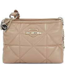 love moschino women's quilted crossbody bag - taupe