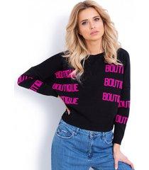 sweter żakardowy z napisami