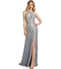 mac duggal halter sleeveless sequined gown