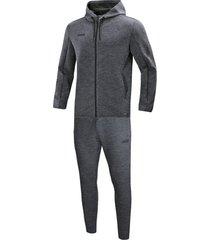 jako joggingpak met sweaterkap premium basics m9629-40 grijs melange