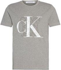 camiseta slim con logo gráfico gris calvin klein