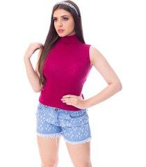 blusa cacharrel moda vício regata gola alta tricô pink