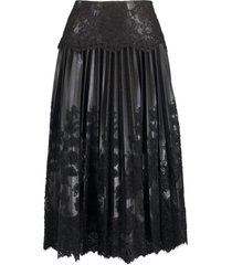 black leather pleated lace skirt