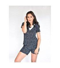 pijama adulto feminino liganete curto short doll preto estrelas