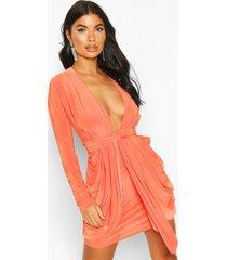 petite plunge drape bodycon dress, orange