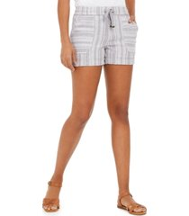 style & co petite striped linen-blend pull-on shorts, created for macy's