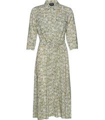 dress woven fabric knälång klänning grön taifun
