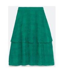 saia longa em tecido bordado com camada sobreposta | cortelle | verde | g