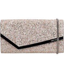 jimmy choo emmie clutch in rose-pink glitter