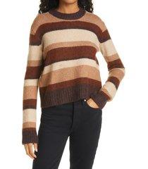 women's baum und pferdgarten stripe wool blend sweater, size large - brown