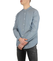 6416 collarless shirt mid blue