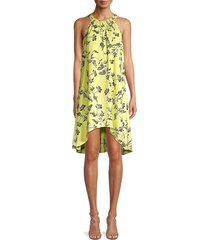 bcbgeneration women's floral-print asymmetric dress - charlock - size s