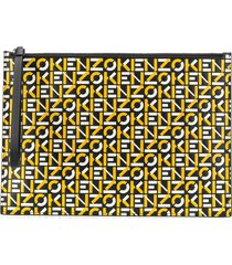kenzo logo-print clutch bag - yellow