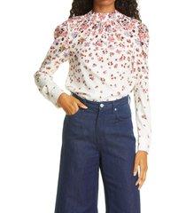 women's veronica beard fey floral stretch silk blouse, size 0 - ivory