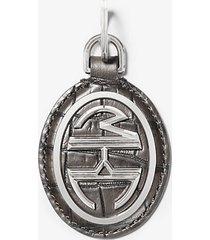 mk portachiavi monogramme in pelle stampa coccodrillo - ardesia (grigio) - michael kors