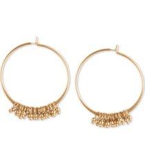 "lucky brand gold-tone beaded medium hoop earrings, 1.5"""