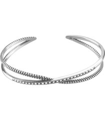 bracciale bangle in argento 925 rodiato e zirconi per donna