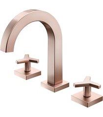 misturador para lavatório de mesa bica alta city cobre escovado