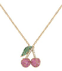 red, white & green crystal cherry pendant necklace