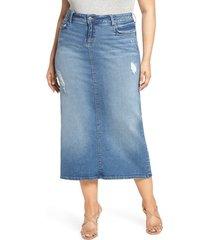 plus size women's slink jeans long denim skirt