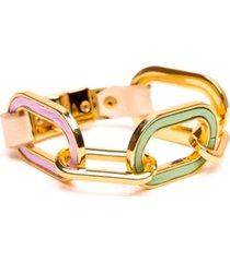pulseira armazem rr bijoux couro com elos coloridos