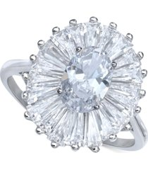 cubic zirconia baguette halo statement ring in sterling silver