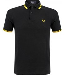 fred perry twin tipped black yellow polo top m3600506