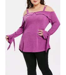 plus size square neck flare sleeve t-shirt