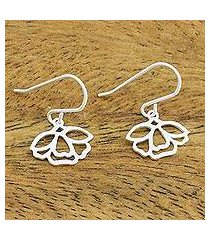 sterling silver dangle earrings, 'tulip blooms' (thailand)
