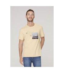 camiseta masculina regular com textura - amarelo