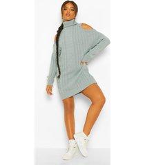 grof gebreide trui jurk met col en open schouders, blue