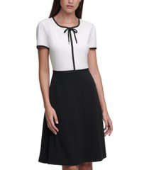 karl lagerfeld crepe two-tone dress