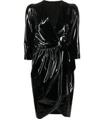alchemy vinyl-effect wrap dress - black