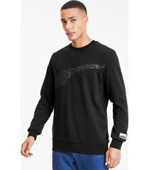 avenir graphic crew neck sweater voor heren, zwart/aucun, maat l | puma