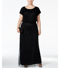 adrianna papell plus size bead-illusion blouson dress