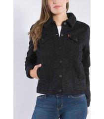 levi's women's boyfriend casual sherpa trucker jacket sherpa-0004 black harbor