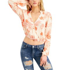 guess myra printed cropped top