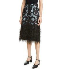women's ganni feather hem embellished skirt