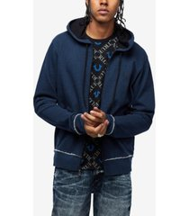 true religion men's indigo denim hoodie