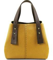 tuscany leather tl141730 tl bag - borsa shopping in pelle senape