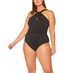 plus size women's bleu by rod beattie urban goddess keyhole high neck one-piece swimsuit, size 22w - black