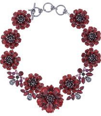 marchesa poppy floral necklace - red