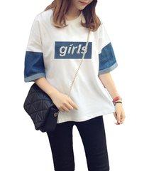 magliette casual a manica corta con lettere stampate patchwork in denim