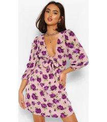 floral tie neck puff sleeve skater dress, purple