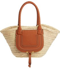 chloe medium marcie leather & raffia tote - green