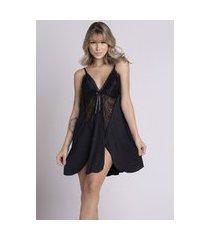 camisola plus size bella fiore modas romantic renda lis preto