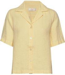 donna linen shirt overhemd met korte mouwen geel morris lady