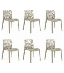 conjunto 06 cadeiras gruv nude rivatti