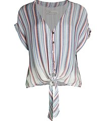 vintage havana women's striped & knotted top - summer multi - size s